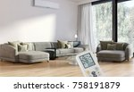 modern bright room with air... | Shutterstock . vector #758191879