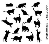Stock vector set vector silhouettes of the cat different poses standing jumping and sitting black color 758192044