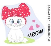 a beautiful cute kitty cat in a ... | Shutterstock .eps vector #758194999