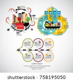 business set of infographics  | Shutterstock .eps vector #758195050