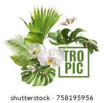 vector botanical banner with... | Shutterstock .eps vector #758195956