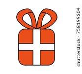christmas gift box wrapped... | Shutterstock .eps vector #758199304