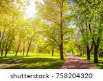 view on green path with trees... | Shutterstock . vector #758204320