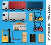 the concept of a logistics... | Shutterstock .eps vector #758213200
