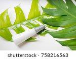 natural cosmetics bottle... | Shutterstock . vector #758216563