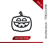 halloween pumpkin icon. holiday ... | Shutterstock .eps vector #758221498