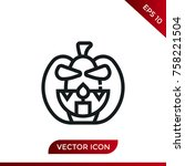 halloween pumpkin icon. holiday ... | Shutterstock .eps vector #758221504
