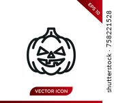 halloween pumpkin icon. holiday ... | Shutterstock .eps vector #758221528