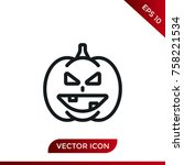 halloween pumpkin icon. holiday ... | Shutterstock .eps vector #758221534