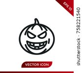 halloween pumpkin icon. holiday ... | Shutterstock .eps vector #758221540