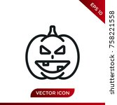 halloween pumpkin icon. holiday ... | Shutterstock .eps vector #758221558