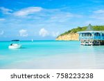 sea beach with boat and wooden... | Shutterstock . vector #758223238