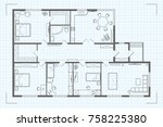 architectural floor plan of the ... | Shutterstock . vector #758225380