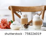 mason jars with latte macchiato ... | Shutterstock . vector #758226019