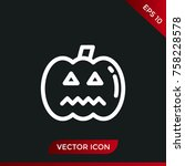 halloween pumpkin icon. holiday ... | Shutterstock .eps vector #758228578