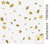 3d star falling print. gold... | Shutterstock .eps vector #758236210