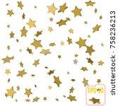 gold star confetti rain festive ...   Shutterstock .eps vector #758236213