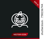 halloween pumpkin icon. holiday ... | Shutterstock .eps vector #758236744