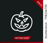halloween pumpkin icon. holiday ... | Shutterstock .eps vector #758236750