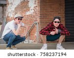 young men in sunglasses and... | Shutterstock . vector #758237194