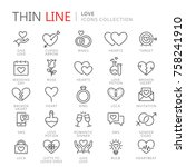 collection of love thin line... | Shutterstock .eps vector #758241910