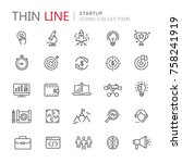 collection of startup thin line ...