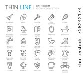 collection of bathroom thin... | Shutterstock .eps vector #758242174