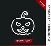 halloween pumpkin icon. holiday ... | Shutterstock .eps vector #758245108
