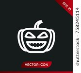 halloween pumpkin icon. holiday ... | Shutterstock .eps vector #758245114