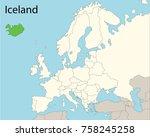 europe map  iceland    Shutterstock .eps vector #758245258