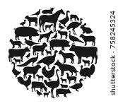 Stock vector vector farm animals silhouettes isolated on white livestock and poultry icons 758245324