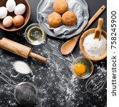 baking ingredients. bowl  eggs  ... | Shutterstock . vector #758245900
