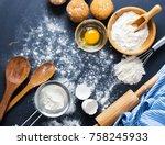 baking ingredients. bowl  eggs  ... | Shutterstock . vector #758245933