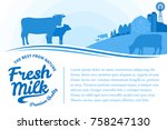 vector milk illustration with... | Shutterstock .eps vector #758247130