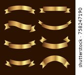 set of golden ribbons vector. | Shutterstock .eps vector #758247190