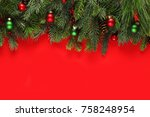 christmas branches background | Shutterstock . vector #758248954