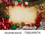 blank paper surrounded by... | Shutterstock . vector #758249074