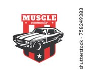muscle car community logo | Shutterstock .eps vector #758249383