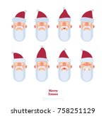 santa claus faces. differet... | Shutterstock .eps vector #758251129