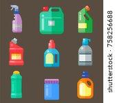 bottles of household chemicals... | Shutterstock .eps vector #758256688