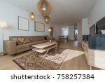 interior of a modern living room | Shutterstock . vector #758257384