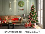 christmas party in living room... | Shutterstock . vector #758263174