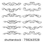 set of decorative design... | Shutterstock .eps vector #758263528
