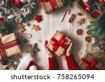 merry christmas and happy... | Shutterstock . vector #758265094