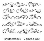 set of decorative elements... | Shutterstock .eps vector #758265130