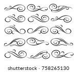set of decorative elements... | Shutterstock .eps vector #758265130
