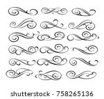 set of decorative elements... | Shutterstock .eps vector #758265136