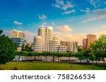 looking at media harbor at... | Shutterstock . vector #758266534