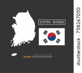 outline map of south korea ... | Shutterstock .eps vector #758267050