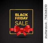 black friday golden frame.... | Shutterstock .eps vector #758268250